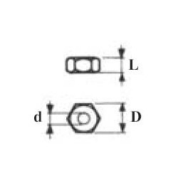 ECROUS HEXAGONAUX d1.2 X D2.5 X L1.0