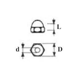 ECROUS BORGNES HEXAGONAUX d1.2 X D2.25 X L2.1